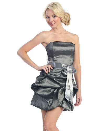 Sheath/Column Strapless Taffeta Short/Mini Sleeveless Pick-Ups Cocktail Dresses at dressestylish