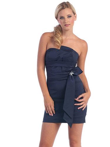 Sheath/Column Strapless Satin Short/Mini Sleeveless Crystal Detailing Cocktail Dresses at dressestylish