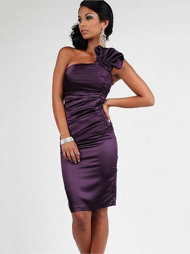 Sheath/Column One Shoulder Satin Short/Mini Sleeveless Ruched Cocktail Dresses at dressestylish
