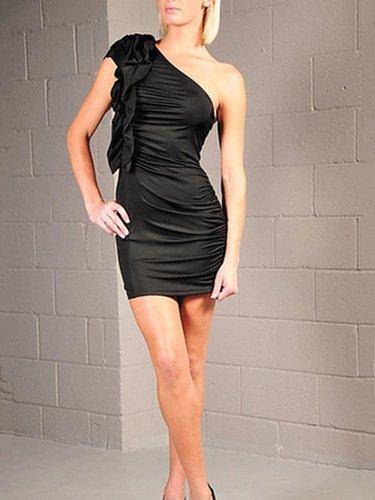 Sheath/Column One Shoulder Elastic Woven Satin Short/Mini Sleeveless Pleats Cocktail Dresses at dressestylish