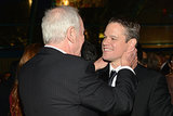 Matt Damon flashed a grin while talking with Jerry Weintraub at the HBO Emmys afterparty.