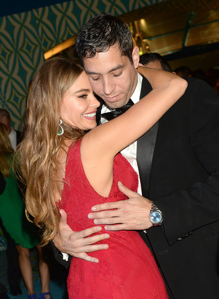 Sofia Vergara hugged her fiancé Nick Loeb at the 2013 HBO Emmys afterparty.