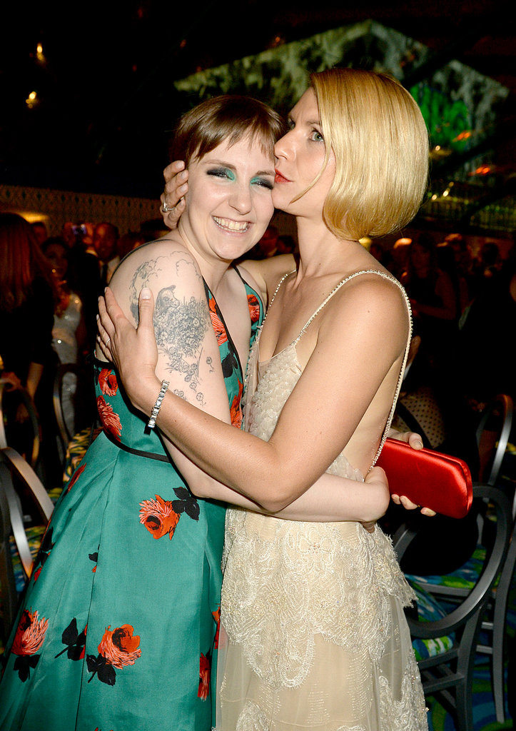 Lena Dunham got a kiss from Claire Danes at the 2013 HBO Emmys afterparty. Apparently they were introduced by a mutual friend many years ago — who knew?