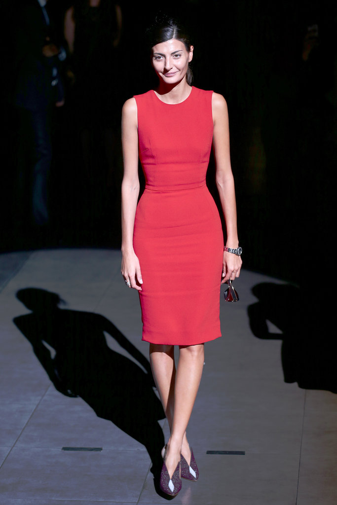 Giovanna Battaglia was red hot in a bright sheath at Dolce & Gabbana's Spring runway show.