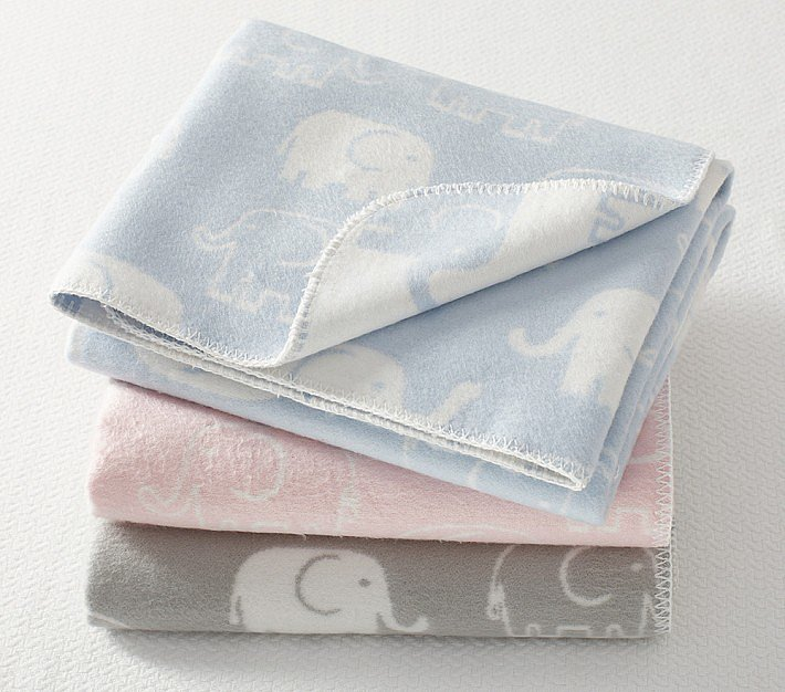 Pottery Barn Kids never lets us down. Its jacquard-woven Elephant Stroller Blanket ($40) is a cozy, affordable option that comes in pink, lavender, blue, or gray.