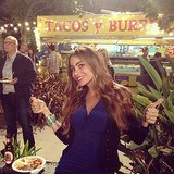 Sofia Vergara brightened up a late-night taco feast in a cobalt design. Source: Instagram user jessetyler