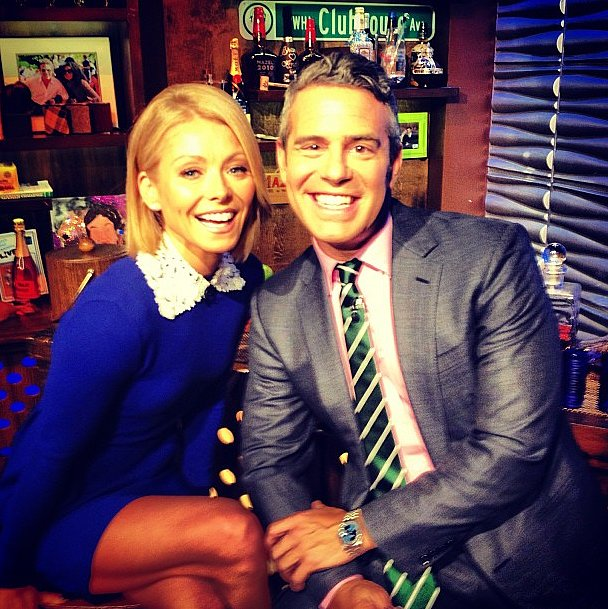 Kelly Ripa was as colorful as the Watch What Happens Live clubhouse in her electric blue dress. Source: Instagram user bravoandy
