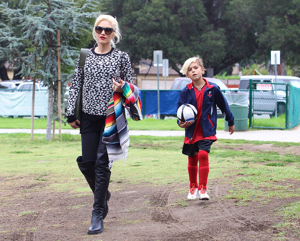 Gwen Stefani walked with her son Kingston Rossdale.