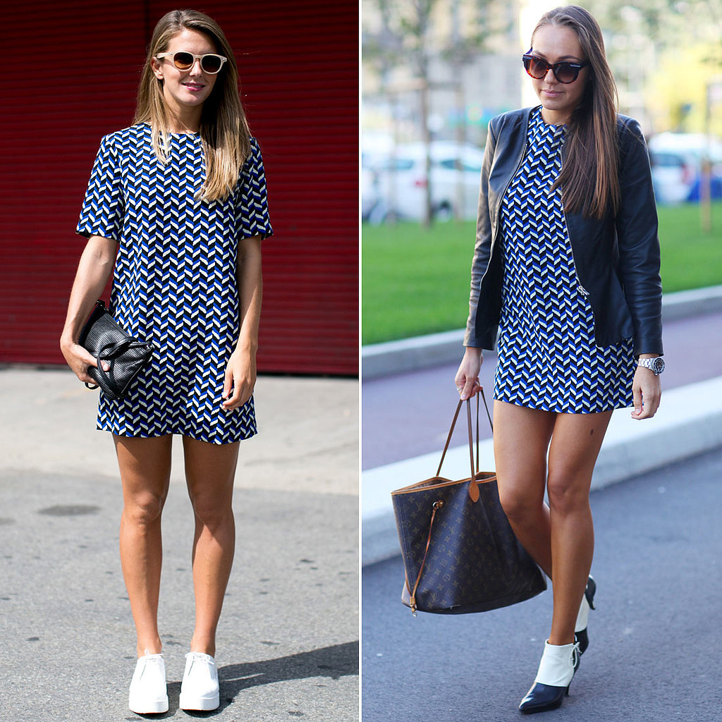 Two showgoers gave us two equally awesome ways to style this Zara dress ($80).
