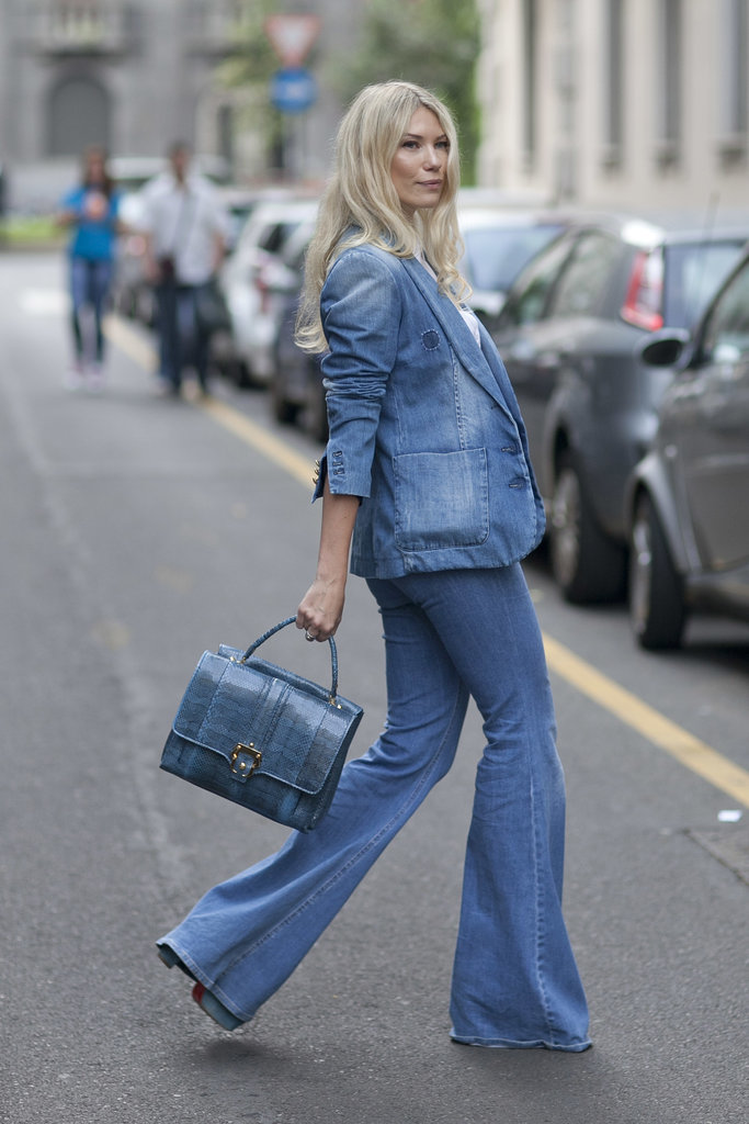 Super '70s style suiting in denim on denim.