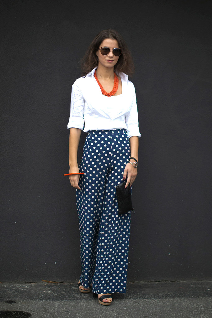 Polka-dot pants added flair to a classic button-down.