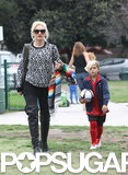 Gwen Stefani showed support during her son Kingston's Sunday soccer game in LA.