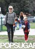 Gwen Stefani showed support during her son Kingston's Sunday soccer game in LA.