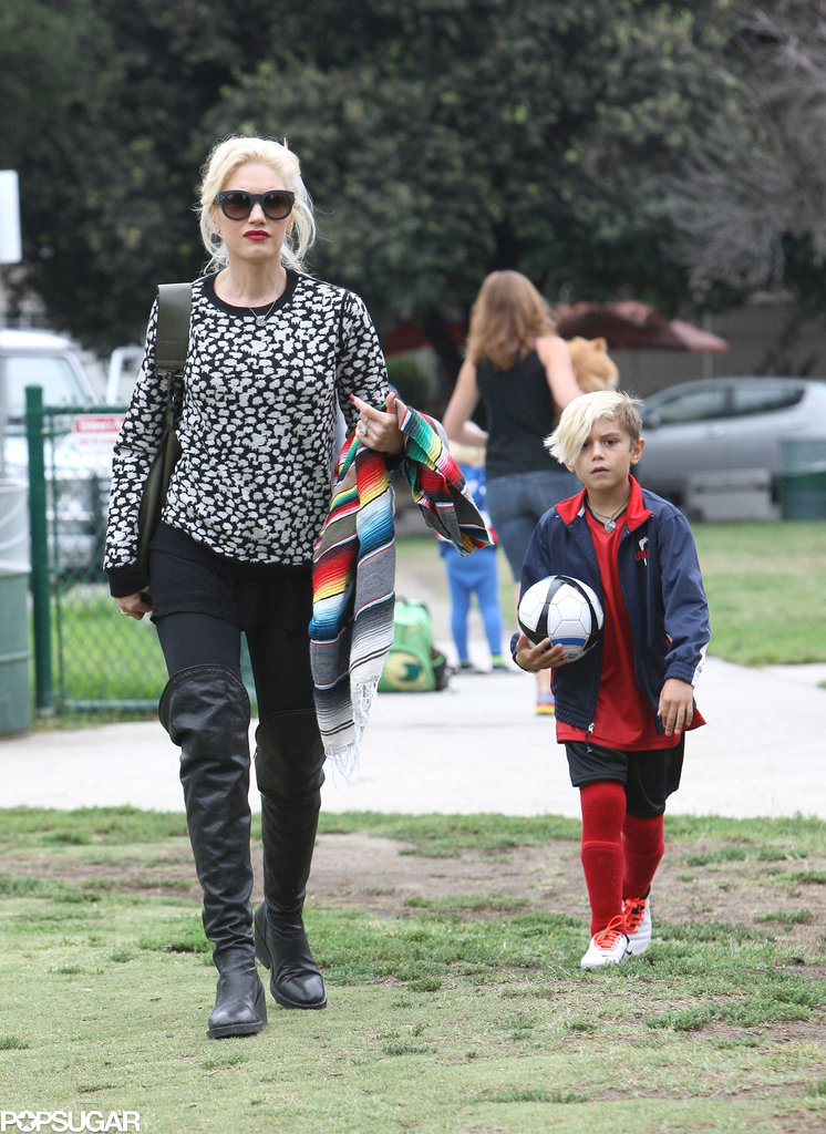 Gwen Stefani showed support during her son Kingston's soccer game in LA.