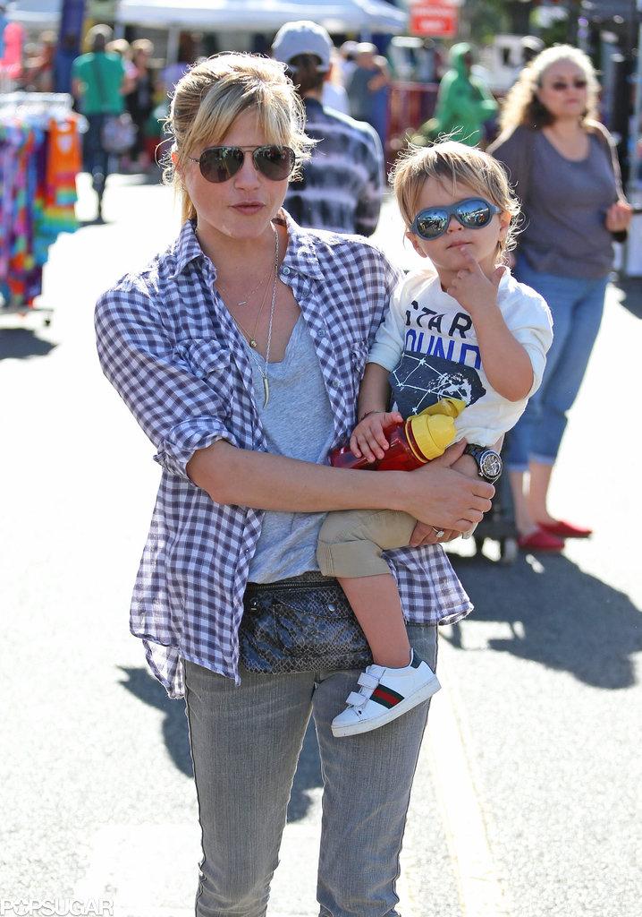 Selma Blair took her son, Arthur, to an LA farmers market on Sunday.