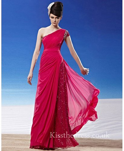 Red Chiffon Sequins One Shoulder Long Prom Dress CYH81289