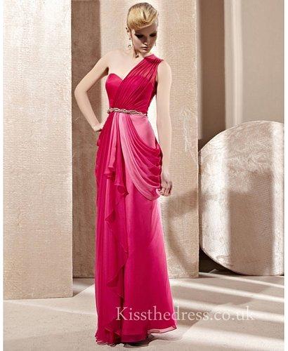 Draped Red Chiffon Sweetheart One Shoulder Long Prom Dress CYH81281