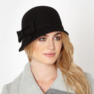 Designer-Glockenhut aus Wolle mit applizierter Schleife, schwarz