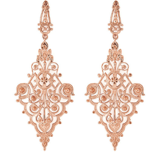 IAM by Ileana Makri Rose Gold Plated Sterling Silver Chantilly Earrings