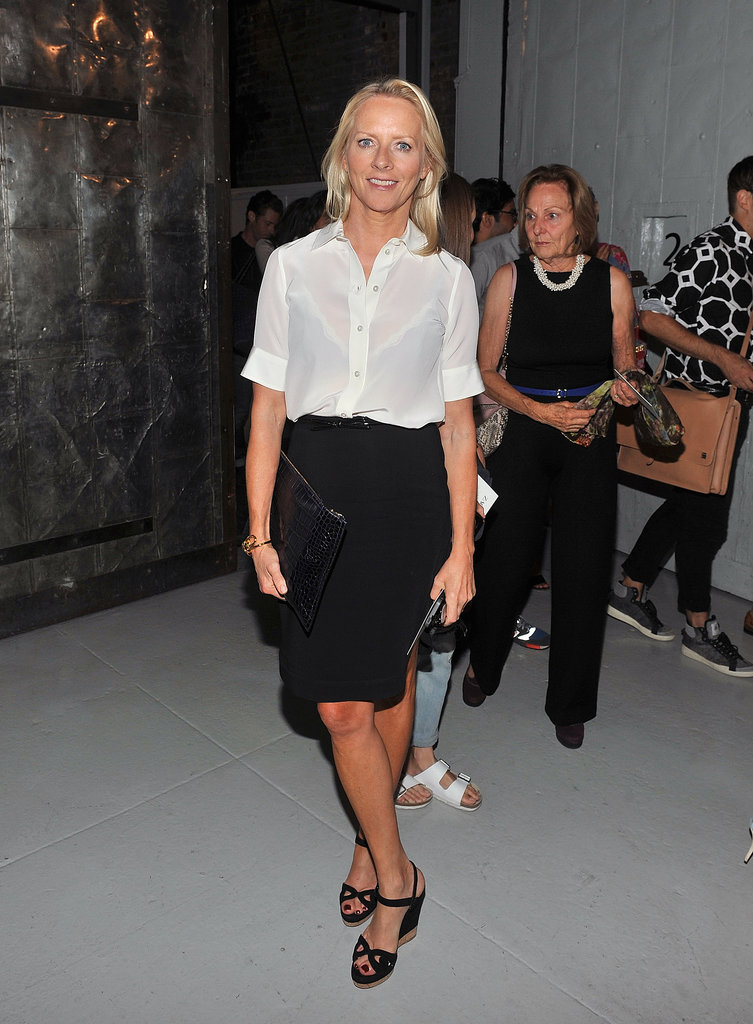Linda Wells looked classic in her tailored separates at Zac Posen's show.