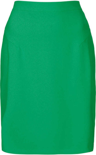 Green Crepe Pencil Skirt
