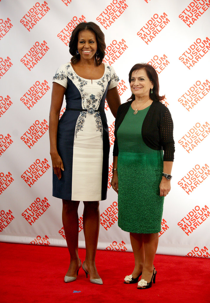 Michelle posed with Lebanon's first lady, Wafaa Solaiman.