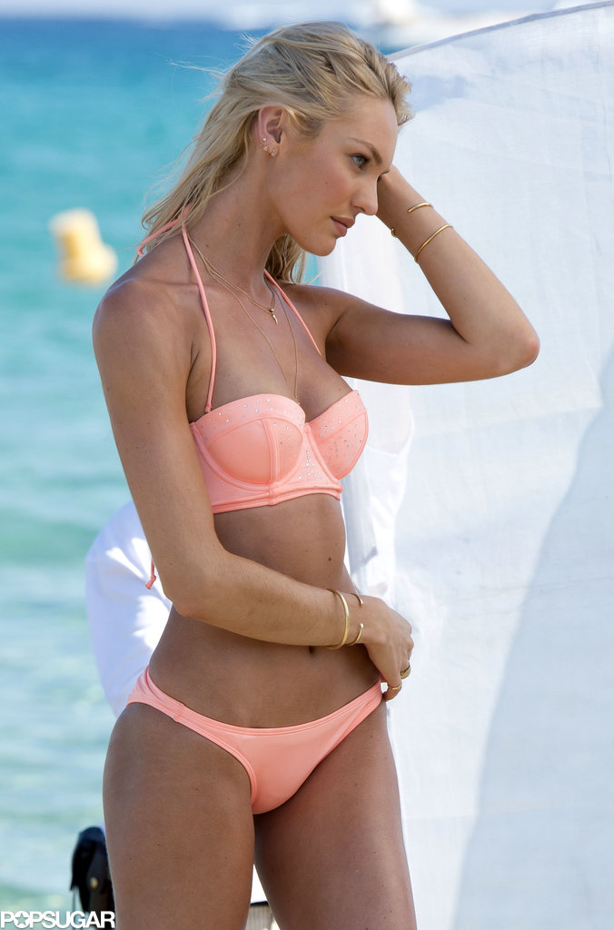 Candice Swanepoel posed during a Victoria's Secret photo shoot in France.