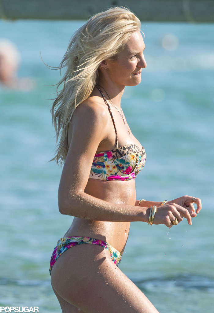 Candice Swanepoel wore a printed bikini for a photo shoot in France.