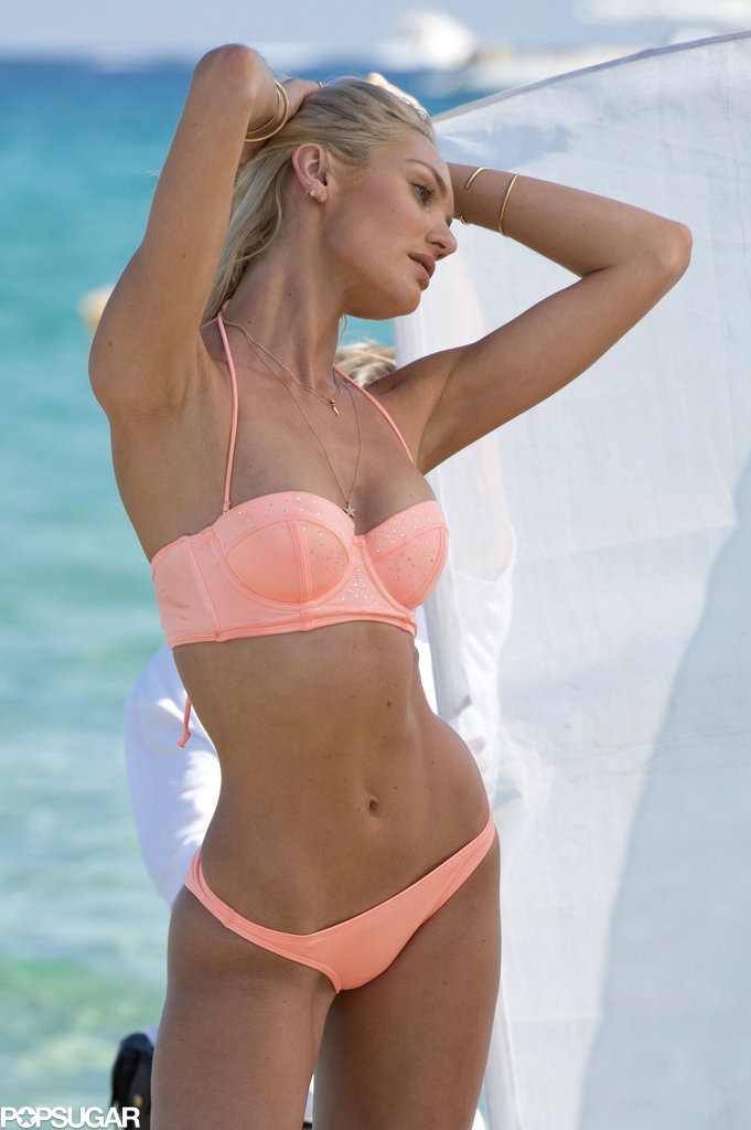 Candice Swanepoel donned a small peach bikini in Saint-Tropez.