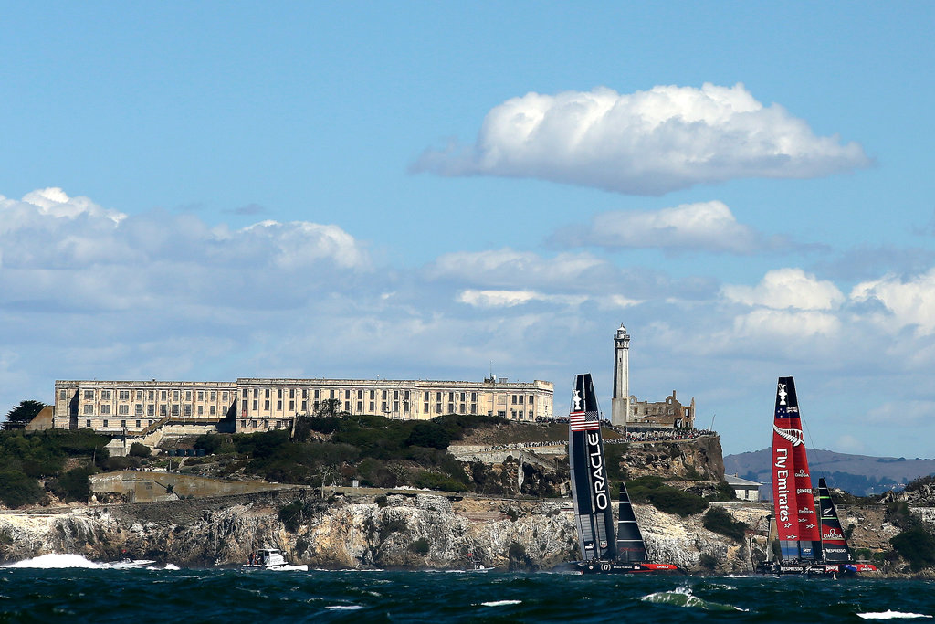 The sailboats made their way past Alcatraz as they moved in the San Francisco Bay.