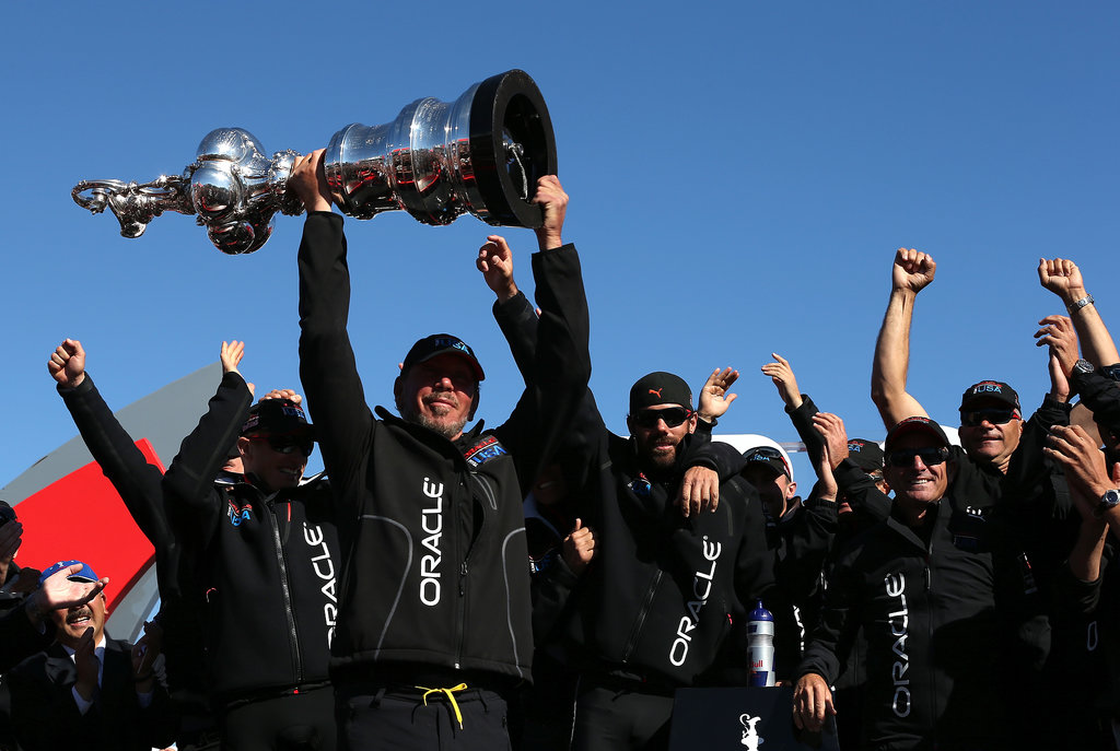 The members of Oracle Team USA cheered after winning the America's Cup finals.