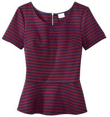 Merona® Women's Stripe Ponte Peplum Top -Navy