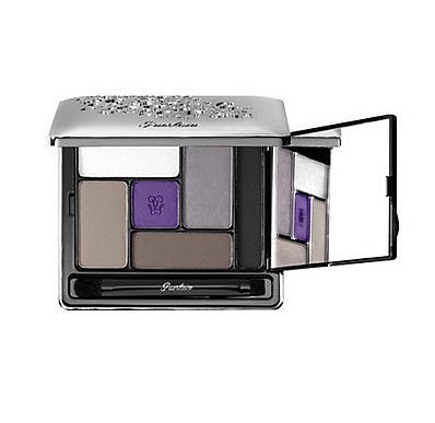 Create a smoky eye with a flash of purple by combining all the shades in Guerlain's Ecrin 6 Couleurs Precious eyeshadow palette (£54).