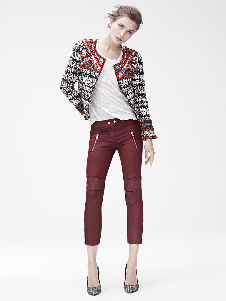 Isabel Marant for H&M Jacket ($399), t-shirt ($35), trousers ($129), suede pumps ($199) Photo courtesy of H&M