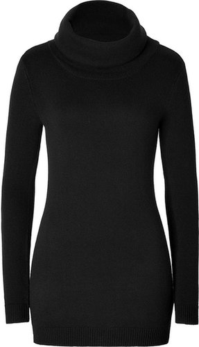 Ralph Lauren Black Label Wool-Angora Blend Luxe Neck Tunic Pullover in Black