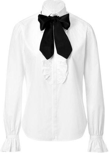 Ralph Lauren Collection Cotton Tie Neck Hana Shirt in White