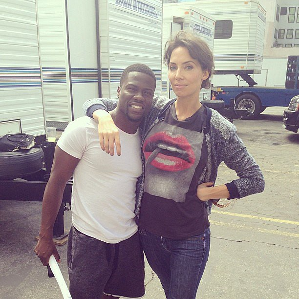 "Whitney Cummings hit the set with her ""future baby daddy,"" Kevin Hart. Source: Instagram user whitneyacummings"