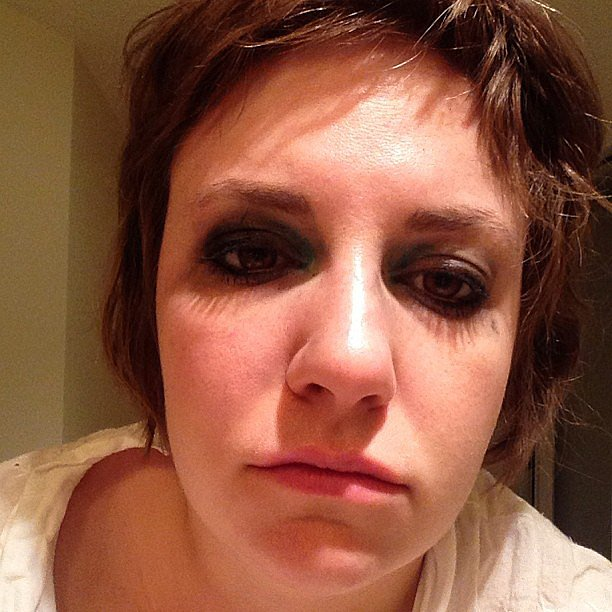 "Lena Dunham showed off her morning after the Emmys hair and makeup look, adding that there was ""no booze involved."" Source: Instagram user lenadunham"