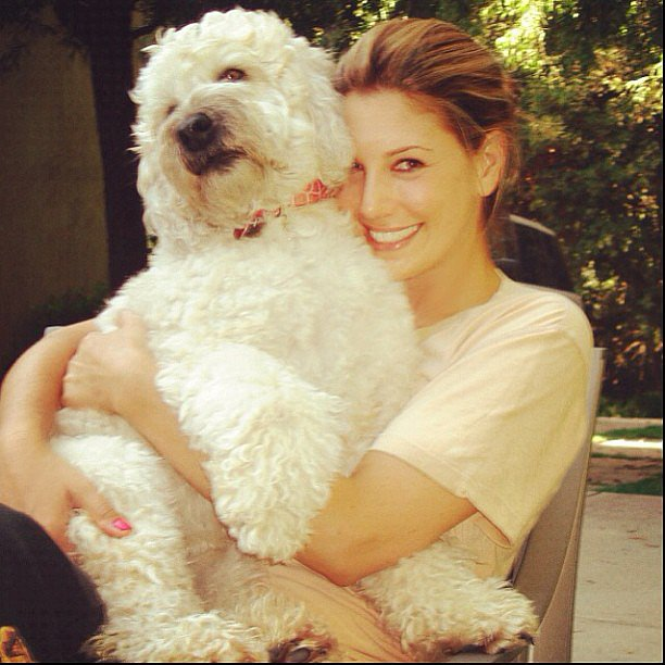 Daisy Fuentes got cozy with her adorable dog. Source: Instagram user daisyfu