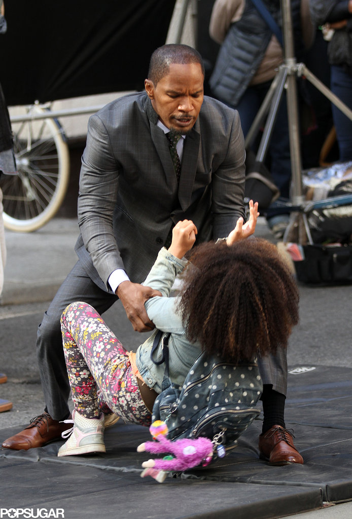 Jamie Foxx and Quvenzhané Wallis filmed together on the NYC set of Annie on Wednesday.