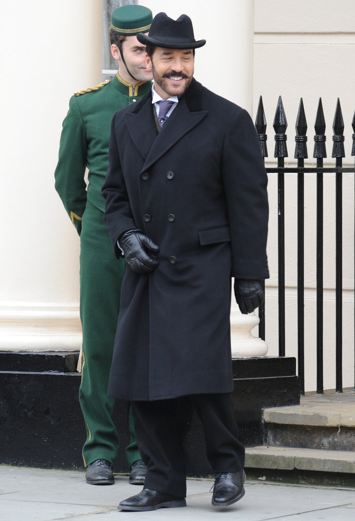 Jeremy Piven smiled in London while filming Mr. Selfridge on Monday.