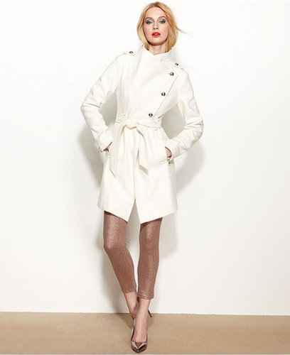 GUESS Coat, Asymmetrical Wool-Blend Belted