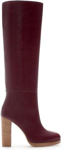 High Heel Leather Boot