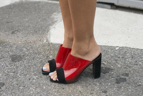 We're seeing red on Natalie Joos's mules — and we like it!
