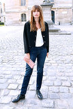 Caroline de Maigret readied for the Balenciaga runway show in Paris.