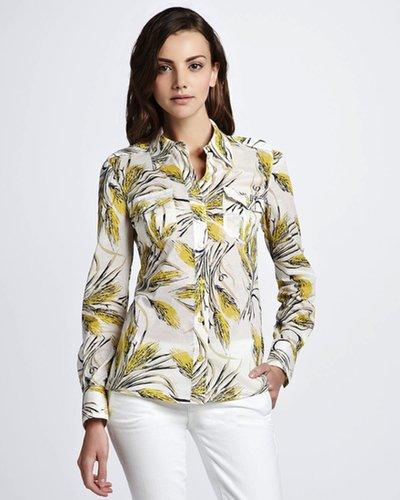 Brigitte printed silk-voile shirt