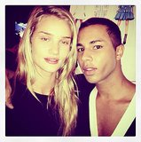 After she closed Balmain's show, Rosie Huntington-Whiteley got close with Olivier Rousteing backstage. Source: Instagram user rosiehw
