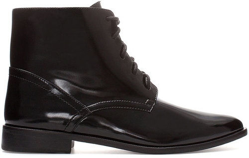 Flat Ankle Boot With Laces
