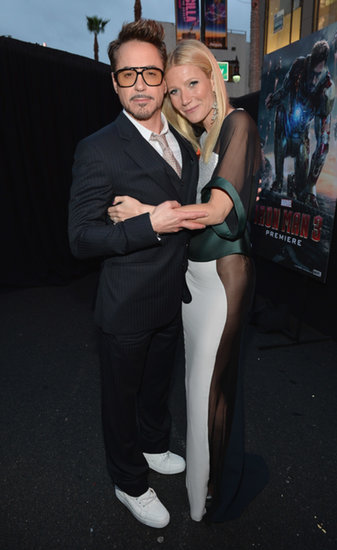 Gwyneth Paltrow hugged her Iron Man 3 costar, Robert Downey Jr., at the film's LA premiere in April 2013.