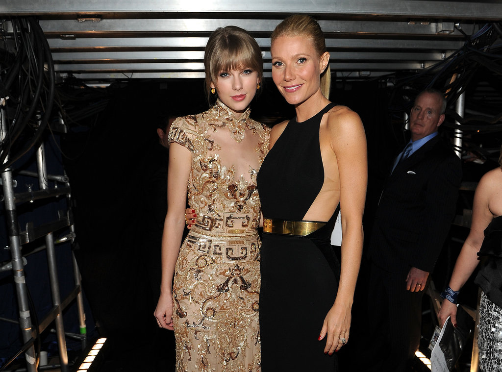 Gwyneth Paltrow met up with her friend Taylor Swift backstage at the Grammys in LA in February 2012.